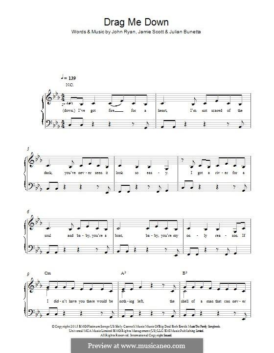 Drag Me Down (One Direction): Para Piano by Julian Bunetta, Jamie Scott, John Henry Ryan