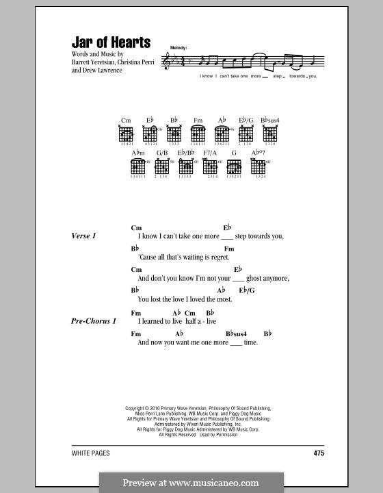 Jar of Hearts: Letras e Acordes by Barrett Yeretsian, Christina Perri, Drew Lawrence