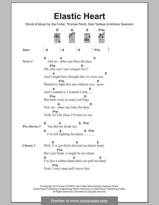 Elastic Heart (Sia): Letras e Acordes by Sia Furler, Diplo, Abel Tesfaye, Andrew Swanson