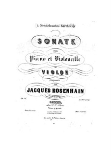 Sonata for Cello (or Violin) and Piano, Op.38: Sonata for Cello (or Violin) and Piano by Jacob Rosenhain