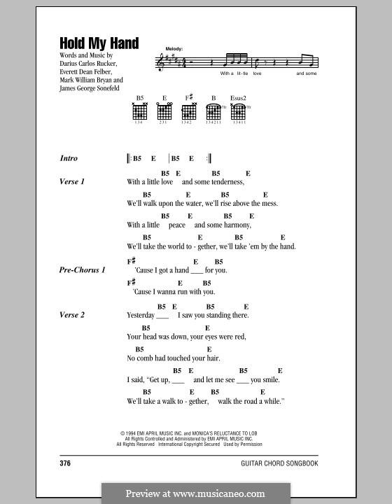 Hold My Hand (Hootie & The Blowfish): Letras e Acordes by Darius Carlos Rucker, Everett Dean Felber, James George Sonefeld, Mark William Bryan