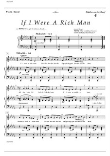 If I Were a Rich Man (from The Fiddler on the Roof): Para vocais e piano by Jerry Bock