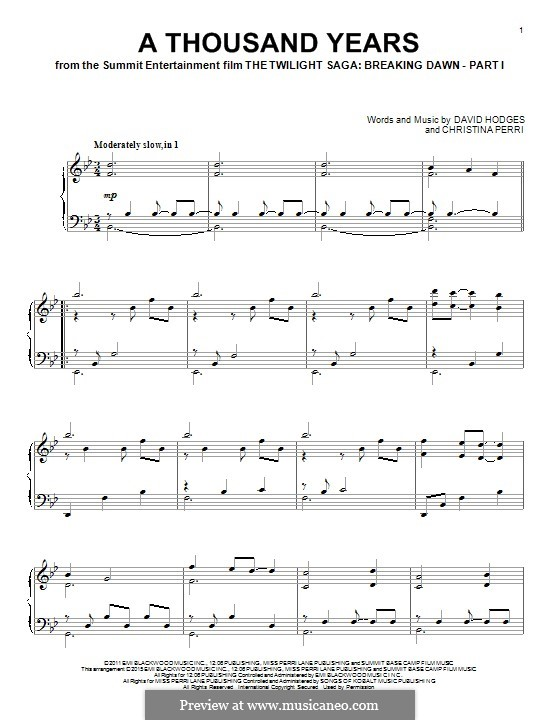 A Thousand Years: Para Piano by Christina Perri, David Hodges