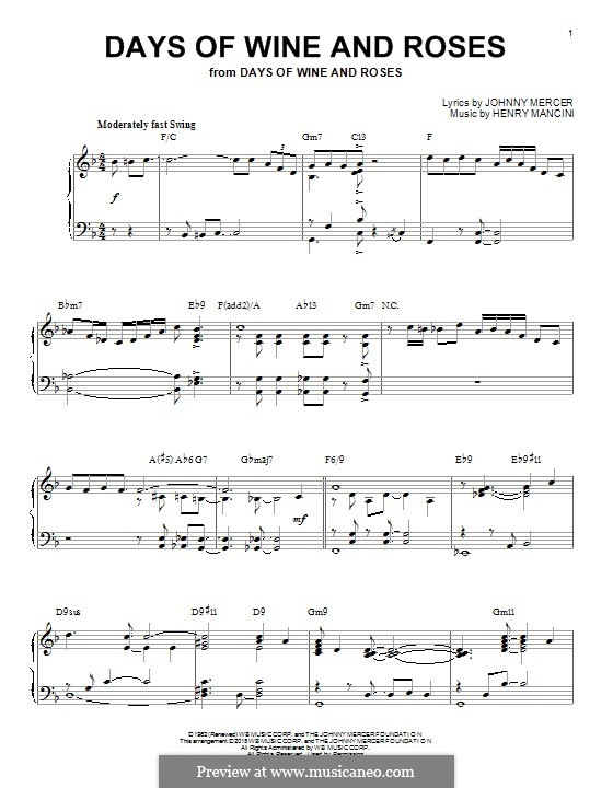 Days of Wine and Roses: For piano (jazz version) by Henry Mancini