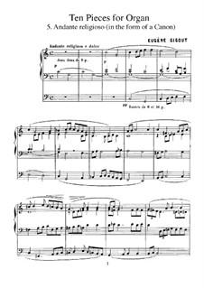 Ten Pieces for Organ: No.5 Andante religioso (in the Form of a Canon) by Eugène Gigout