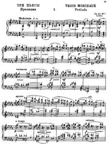 Three Piano Pieces, Op.49: Complete score by Alexander Glazunov