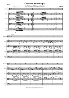 Concerto for Viola and String Orchestra in E Flat Major, Op.3: Score and all parts by Alessandro Rolla