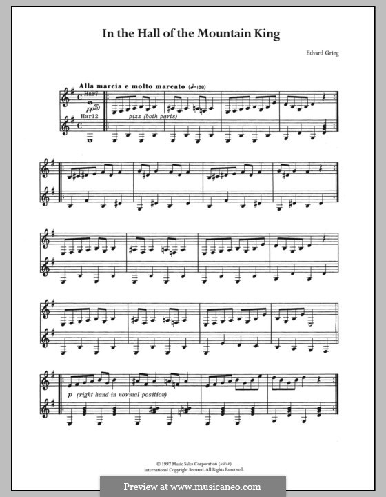 Suite No.1. In the Hall of the Mountain King (Printable Scores), Op.46 No.4: Para Guitarra by Edvard Grieg