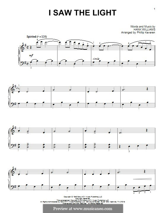 I Saw the Light: Para Piano by Hank Williams