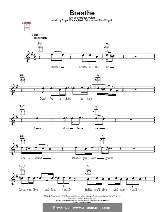 Breathe (Easy Star All-Stars): para ukulele by David Gilmour, Richard Wright, Roger Waters