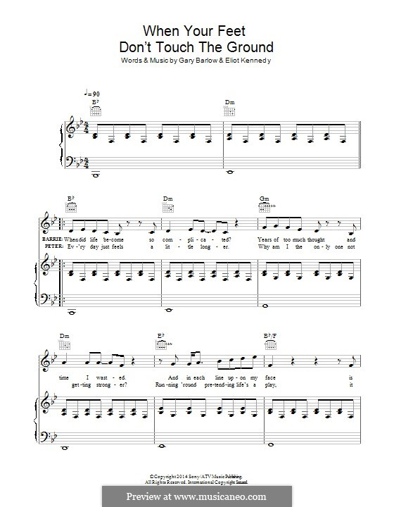 When Your Feet don't Touch the Ground (from 'Finding Neverland'): Para vocais e piano (ou Guitarra) by Eliot Kennedy, Gary Barlow