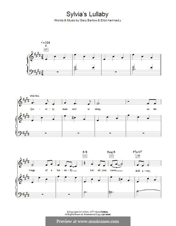 Sylvia's Lullaby (from 'Finding Neverland'): Para vocais e piano (ou Guitarra) by Eliot Kennedy, Gary Barlow