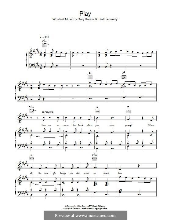 Play (from 'Finding Neverland'): Para vocais e piano (ou Guitarra) by Eliot Kennedy, Gary Barlow