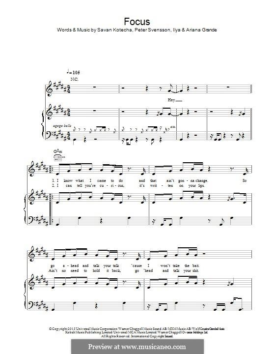 Focus: Para vocais e piano (ou Guitarra) by Peter Svensson, Savan Kotecha, Ariana Grande, Ilya