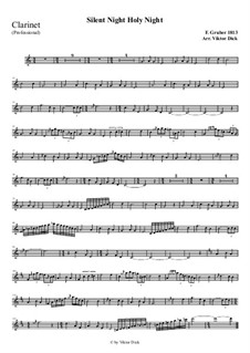 Silent Night, for Solo Instrument: For clarinet (professional version) by Franz Xaver Gruber