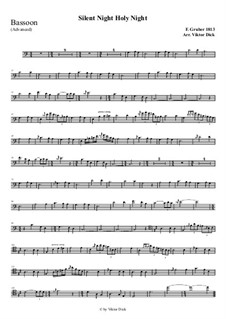 Silent Night, for Solo Instrument: For bassoon (advanced version) by Franz Xaver Gruber
