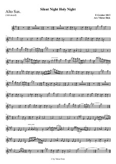 Silent Night, for Solo Instrument: For alto saxophone (advanced version) by Franz Xaver Gruber