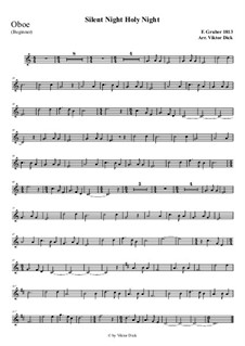 Silent Night, for Solo Instrument: For oboe (easy version) by Franz Xaver Gruber