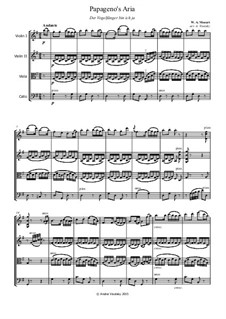 Papageno's Aria: para quartetos de cordas by Wolfgang Amadeus Mozart