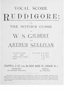 Ruddigore, or The Witch's Curse: Partitura Piano-vocal by Arthur Seymour Sullivan