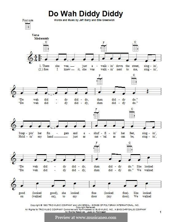 Do Wah Diddy Diddy (Manfred Mann): para ukulele by Ellie Greenwich, Jeff Barry
