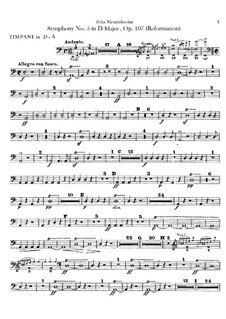 Symphony No.5 in D Major 'Reformation', Op.107: Peça para Timpano by Felix Mendelssohn-Bartholdy