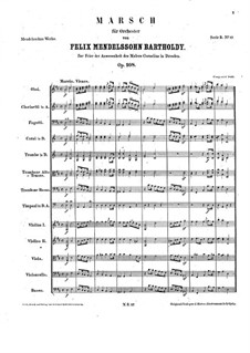 March in D Major for Orchestra, Op.108: Partitura completa by Felix Mendelssohn-Bartholdy