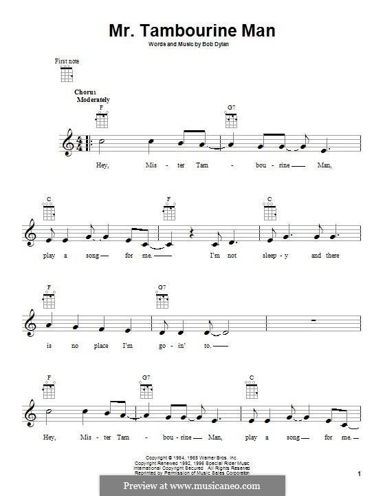 Mr. Tambourine Man: para ukulele by Bob Dylan