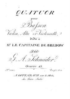 Quartet for Bassoon and Strings, Op.43: Quartet for Bassoon and Strings by Georg Abraham Schneider