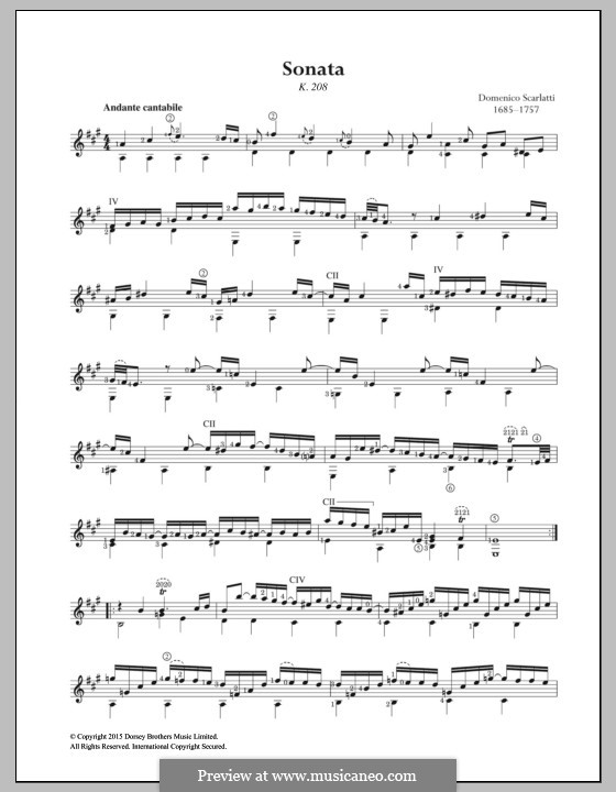 Sonata No.238 in A Major, K.208 L.238 P.315: Para Guitarra by Domenico Scarlatti