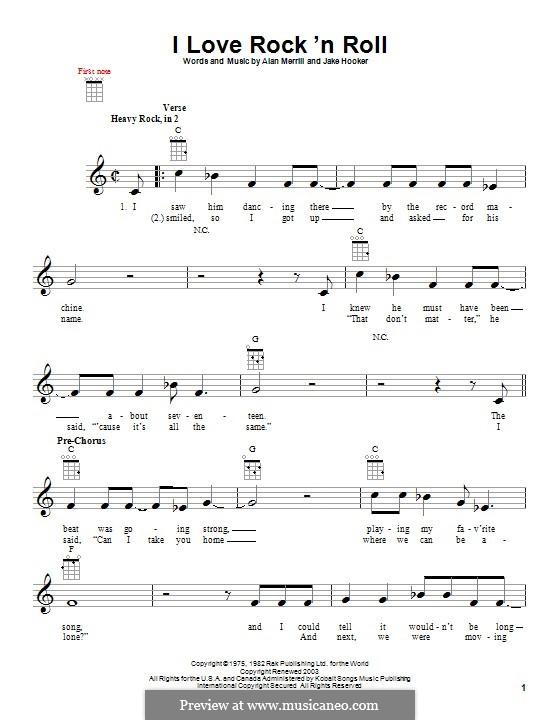 I Love Rock 'n Roll: para ukulele by Alan Merrill, Jake Hooker
