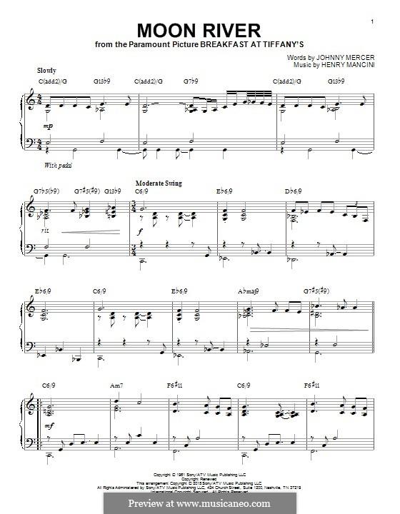 Moon River, for Piano: para um único musico (Editado por H. Bulow) by Henry Mancini