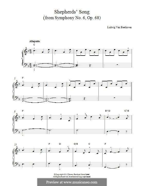 Movement V. The Shepherd's Song: Para Piano by Ludwig van Beethoven