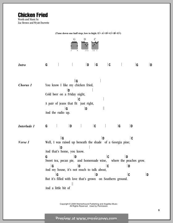 Chicken Fried (Zac Brown Band): Letras e Acordes by Wyatt Durrette, Zac Brown
