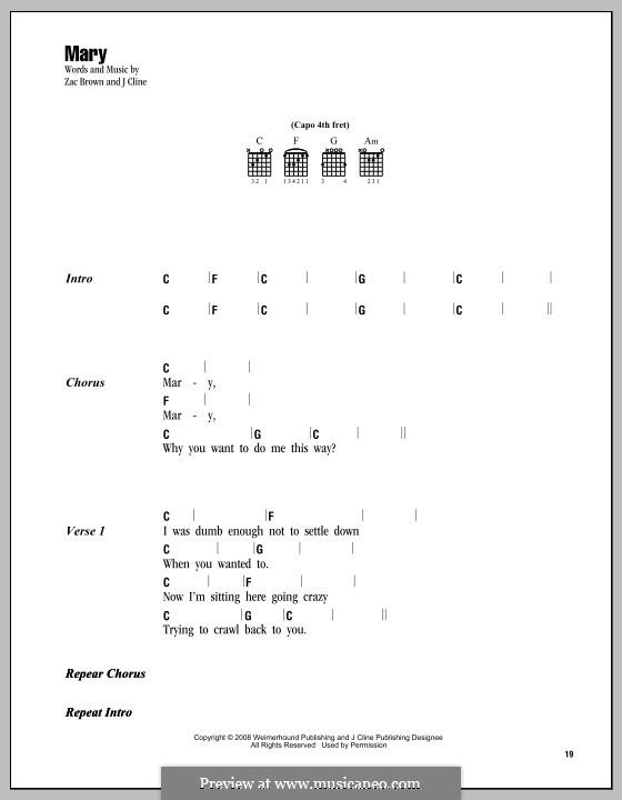 Mary (Zac Brown Band): Letras e Acordes by J Cline, Zac Brown