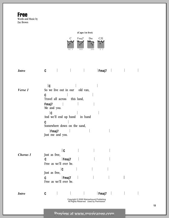 Free (Zac Brown Band): Letras e Acordes by Zac Brown