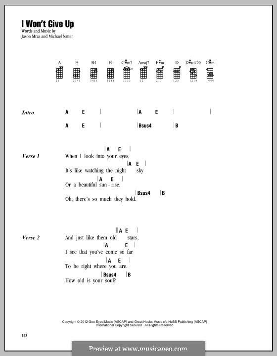 I Won't Give Up: para ukulele by Jason Mraz, Michael Natter