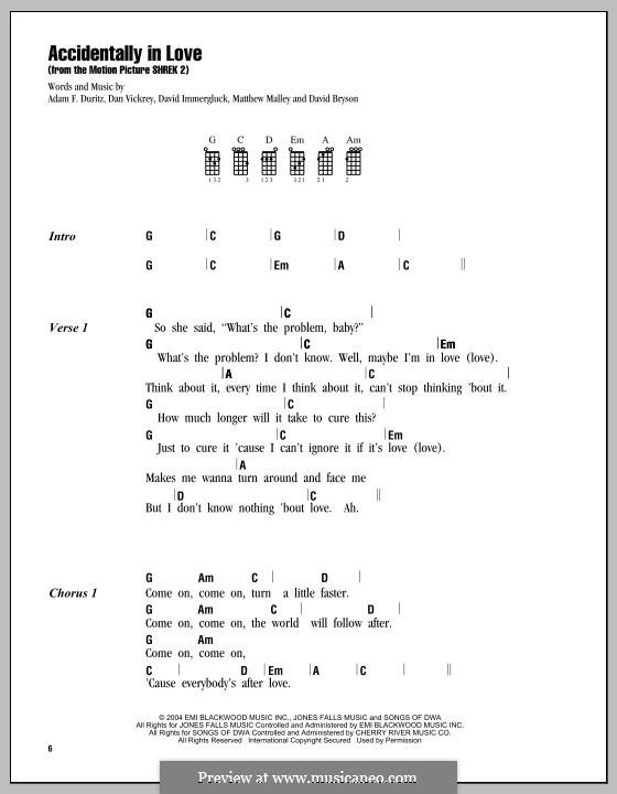 Accidentally in Love (from Shrek 2): para ukulele by Adam F. Duritz, Daniel J. Vickrey, David Bryson, David Immergluck, Matthew Malley