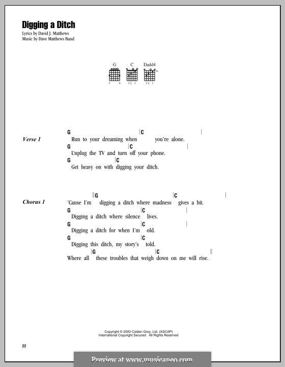 Digging a Ditch (Dave Matthews Band): Letras e Acordes by David J. Matthews