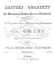Piano Quartet No.3 in B Minor, Op.3: Partes by Felix Mendelssohn-Bartholdy
