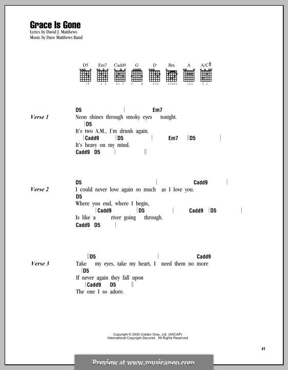 Grace Is Gone (Dave Matthews Band): Letras e Acordes by David J. Matthews