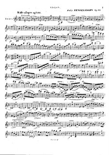 Piano Trio No.1 in D Minor, Op.49: parte do violino by Felix Mendelssohn-Bartholdy