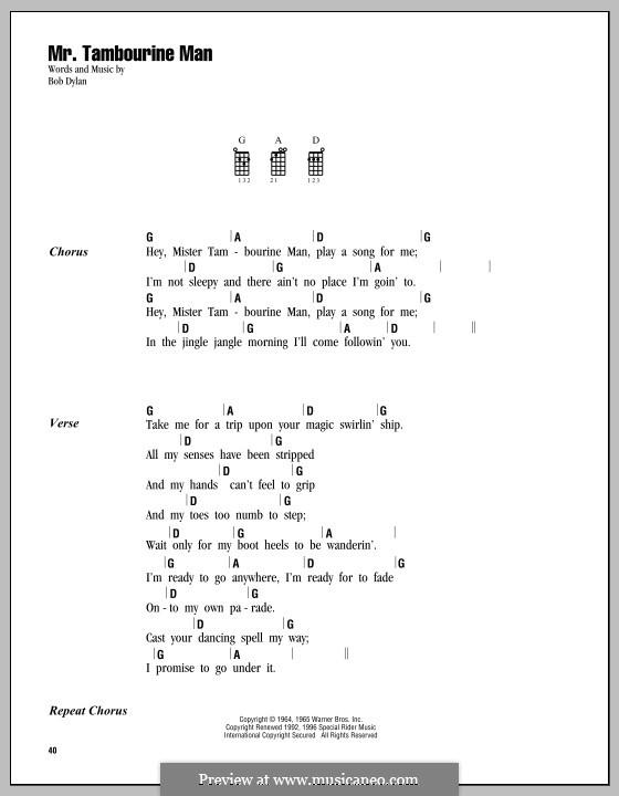 Mr. Tambourine Man: Letras e Acordes by Bob Dylan
