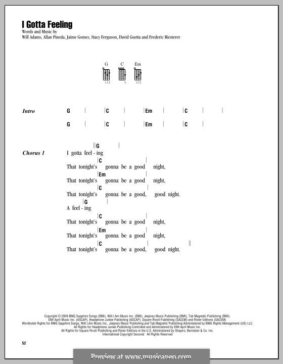 I Gotta Feeling (The Black Eyed Peas): para ukulele by apl.de.ap, David Guetta, Frédéric Riesterer, Jaime Gomez, Stacy Ferguson, will.i.am
