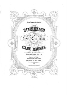 Scherzino for Three Violins, Op.25: Partitura completa by Carl Mikuli