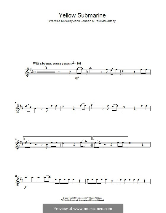 Yellow Submarine (The Beatles): para flauta by John Lennon, Paul McCartney