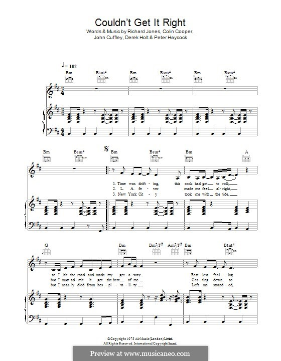 Couldn't Get It Right (Climax Blues Band): Para vocais e piano (ou Guitarra) by Colin Cooper, John Cuffley, Derek Holt, Peter Haycock, Richard Jones