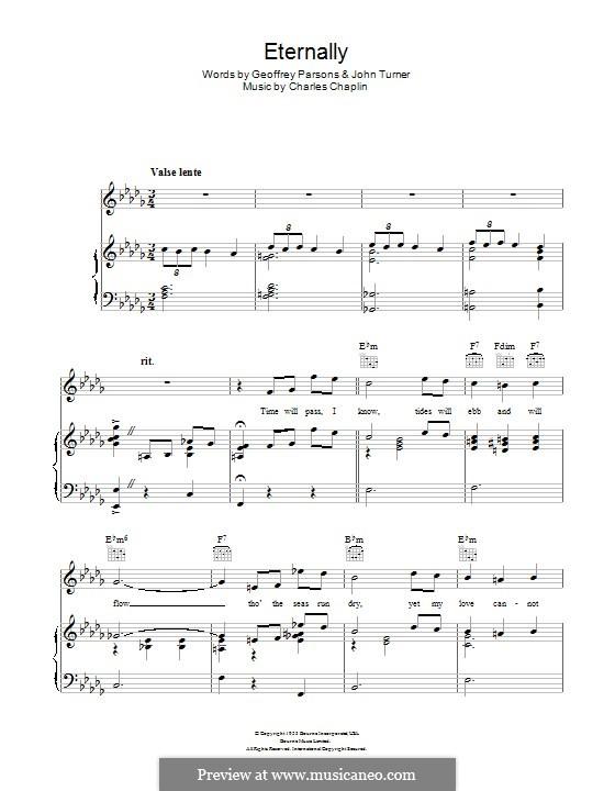 Eternally: Para vocais e piano (ou Guitarra) by Charles Chaplin