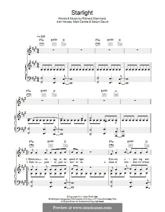 Starlight: Para vocais e piano (ou Guitarra) by Ashley Howes, Matt Cardle, Richard Stannard, Seton Daunt
