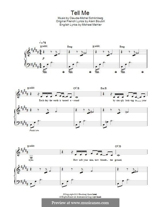 Tell Me: Para vocais e piano by Claude-Michel Schönberg